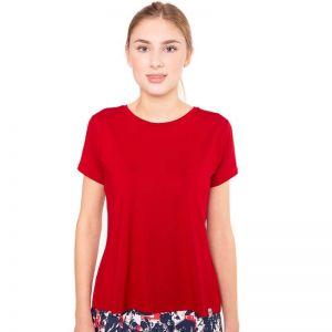 Dunkelrotes Shirt mit leichter Glockenform, einem U-Ausschnitt und kurzen Ärmeln von Haye Fashion aus Hamburg