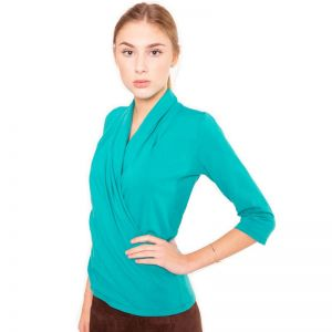 Grüne Wickel Bluse im Blazer Stil aus hochwertiger elastischer Baumwolle von Haye Fashion Hamburg