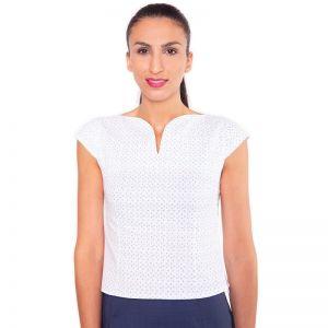 Kurze, weiße Business Bluse mit elegantem Halsausschnitt, kurzen Ärmeln und seitlichem Reisverschluss von Haye Fashion aus Hamburg