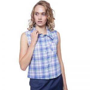 Kurz geschnittene, blau weiß grün karierte Sommer Bluse mit klassischem Kragen, ohne Ärmel  von Haye Fashion Hamburg