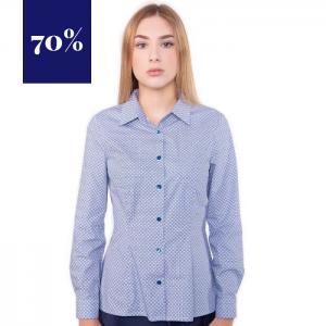 Blaue, gemusterte Business Bluse, stark tailliert, mit klassichem Kragen, und langen Ärmeln von Haye Fashion Hamburg