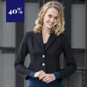 Sehr eleganter, körperbetonter, schwarzer Blazer aus elastischer Viskose ohne Innenfutter von Haye Fashion Hamburg