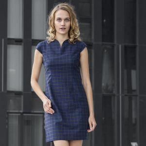 Kariertes Kleid mit kurzen Ärmeln aus weicher Baumwolle mit edlem Innenfutter von haye