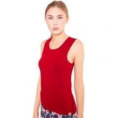 Dunkel rotes, körperbetontes Tank Top aus hochwertiger Viskose von Haye Fashion Hamburg