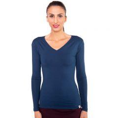 Langes petrolfarbenes Shirt mit extra langen Ärmeln und einem V-Ausschnitt auch hochwertiger blickdichter Viskose von Haye Fashion Hamburg