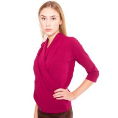 Rote Wickelbluse im Blazer Stil aus hochwertiger elastischer Baumwolle von Haye.