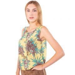 Gelbe, geblümte, ärmellose Sommerbluse aus reiner Baumwolle mit gerafftem Rundhalsausschnitt und elastischem Bündchen von Haye Fashion Hamburg