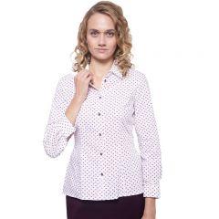 Rot weiße Business Bluse, stark tailliert, mit klassichem Kragen, und langen Ärmeln von Haye Fashion Hamburg