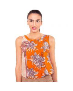 Orangefarbene, geblümte, ärmellose Sommerbluse aus reiner Baumwolle mit gerafftem Rundhalsausschnitt und elastischem Bündchen von Haye Fashion Hamburg