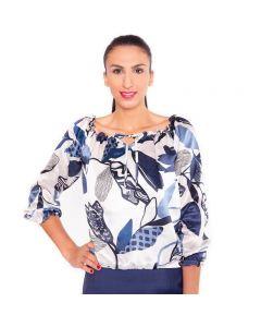 Blau weiß gemusterte Designer Seidenbluse mit praktischem Innenshirt aus Viskose von Haye Fashion Hamburg