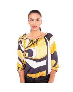 Gelb schwarze Designer Seidenbluse mit elastischem Innenshirt aus edler Viskose von Haye Fashion Hamburg