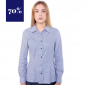 Blaue Business Bluse, tailliert