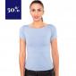 hellblaues Shirt mit extra weitem Rundhals Ausschnitt