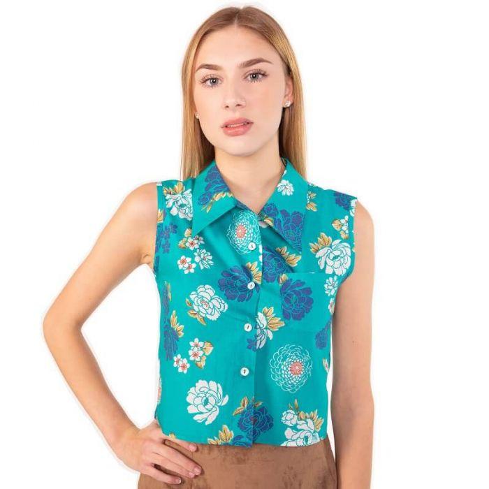 Kurz geschnittene, blau grüne Sommer Bluse mit Blumen Muster, mit klassischem Kragen, ohne Ärmel  von Haye Fashion Hamburg