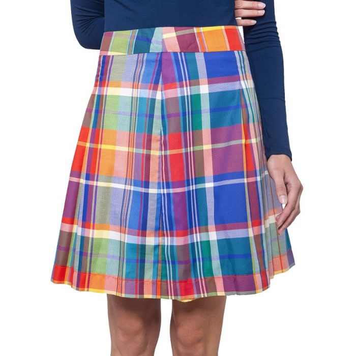 Bunter, leichter Sommerrock aus Baumwolle mit auflockernden Falten und edlem Innenfutter. Der Rock von Haye Fashion ist ungefähr knielang und hat ein bunt kariertes Muster.