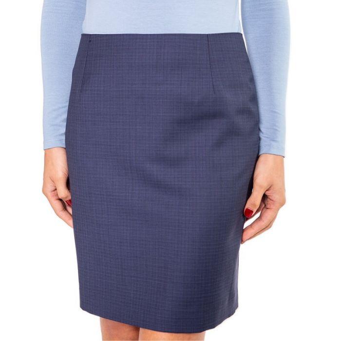 Kurzer, blauer Rock in Bleistiftform aus reiner Baumwolle und mit edlem Innenfutter von Haye Fashion aus Hamburg